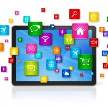 Digital tablet with flying app icons